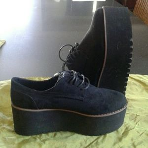 NWT suede  platform shoes from SPAIN